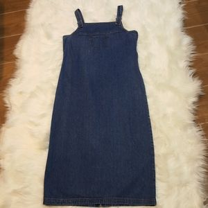 NY and Co Denim Maxi Overall Dress size 8
